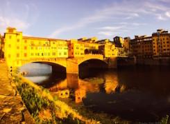 Ponte vecchio posta de sol
